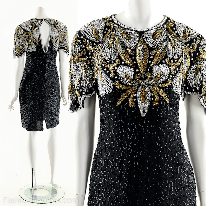 Beaded Silk DressSequin Silk DressHeavily Beaded Black image 0
