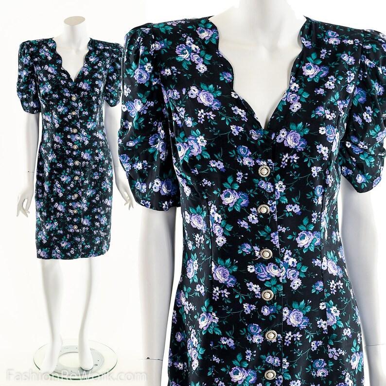 Retro Pencil Dress80s Does 50s Dress50s Inspired DressPuff image 0