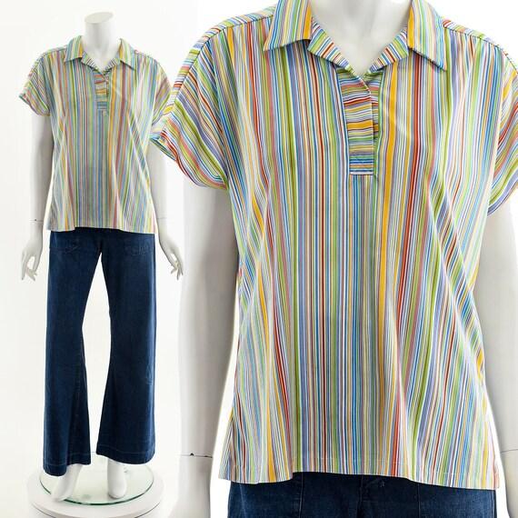 Fruit Striped Blouse,Rainbow Stripe Blouse,Vintag… - image 2