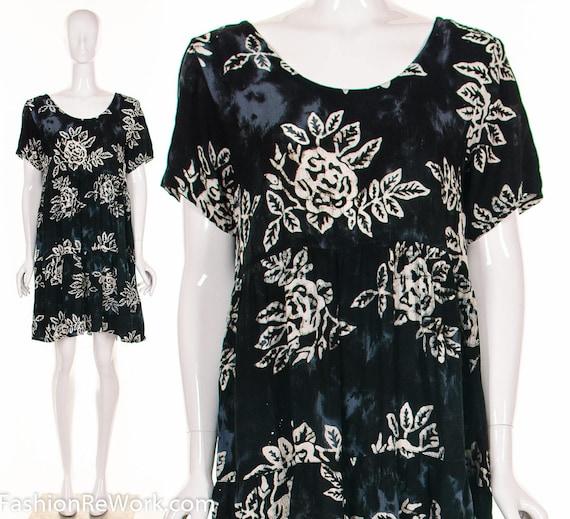 90's Batik BABY DOLL HAWAIIAN Dress Rose Print Dre