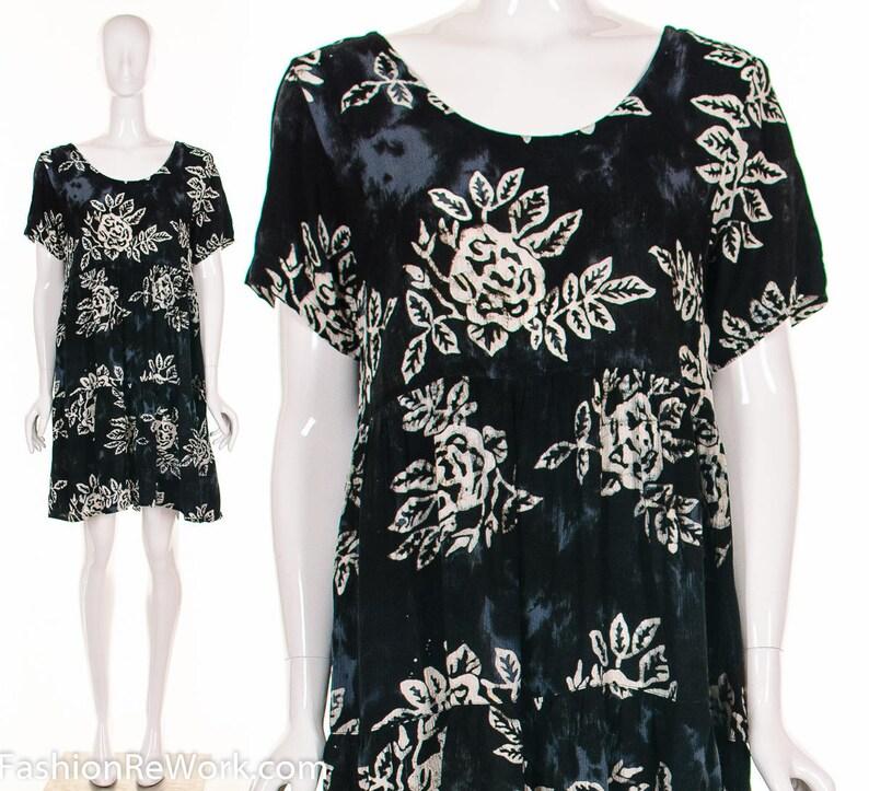 e6911037286 90 s Batik BABY DOLL HAWAIIAN Dress Rose Print Dress Tie
