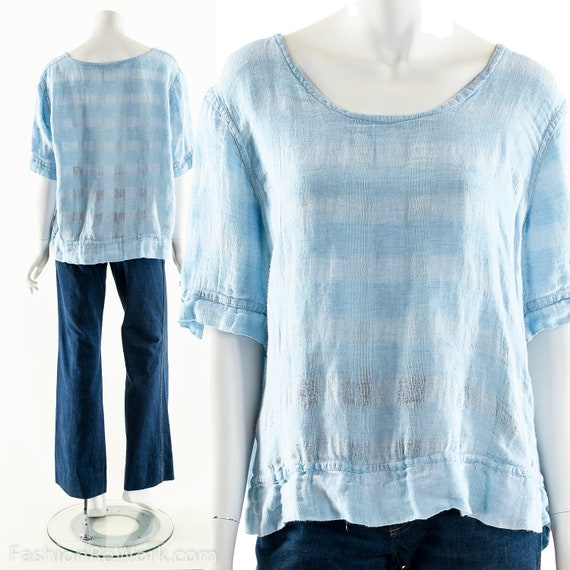 Blue Linen Blouse, Vintage Linen Top, Baby Blue Bl
