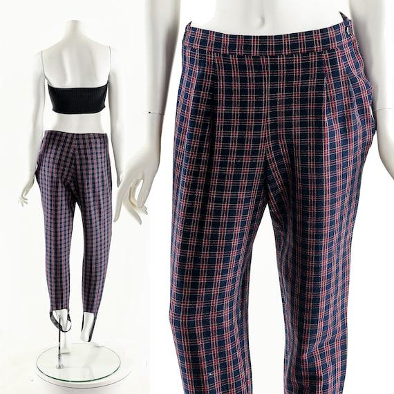 Plaid High Waist Pants,Vintage 80's Pants,Preppy … - image 3