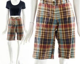 Plaid Bermuda Shorts,Vintage Checkered Shorts,Vintage Nassau Shorts,50s Inspired Shorts,Cotton Earth Tone Shorts,Vintage Capri Pants
