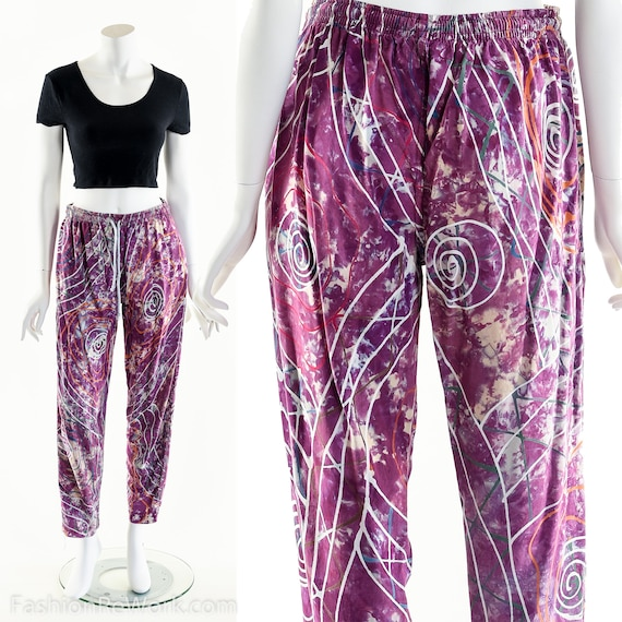 PAINT SPLATTERED Pants,Bright Abstract,High Waist… - image 5