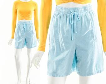 Blue Utilitarian Gauze Shorts,High Waist Double Gauze Shorts,Vintage Aqua Blue Shorts,Soft Breathable Shorts,Loungwear 80s Shorts,Cargo Look