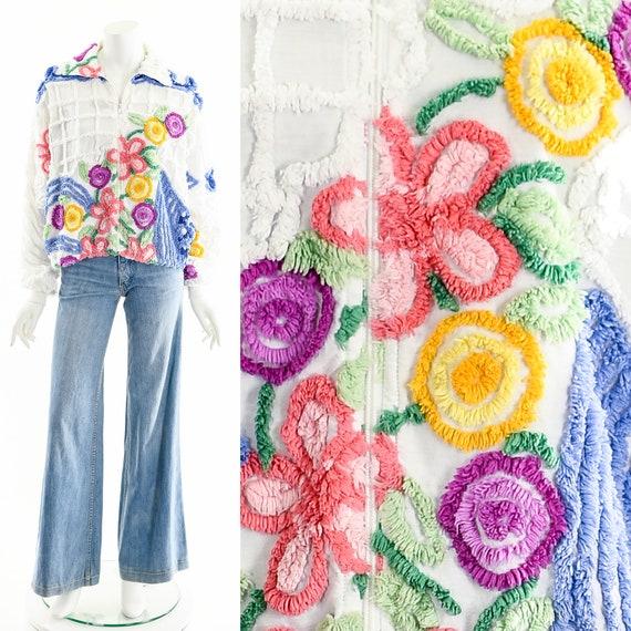RAINBOW FLOWER Jacket,Chenille Blanket Bomber Jack
