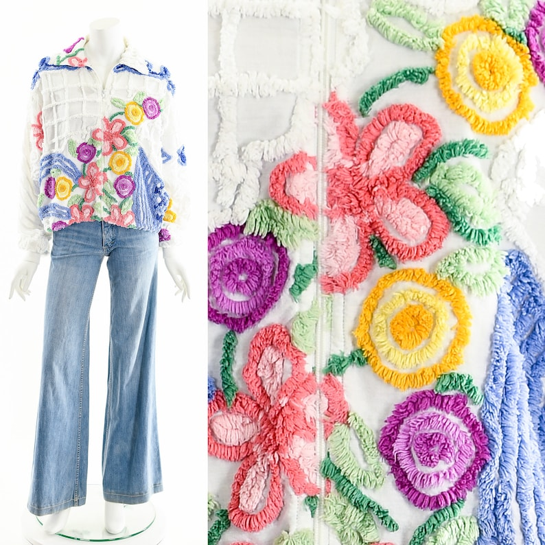 RAINBOW FLOWER JacketChenille Blanket Bomber JacketHand Made image 0