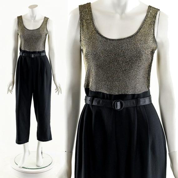 Metallic Gold Jumpsuit,Vintage Lurex Jumpsuit,Meta