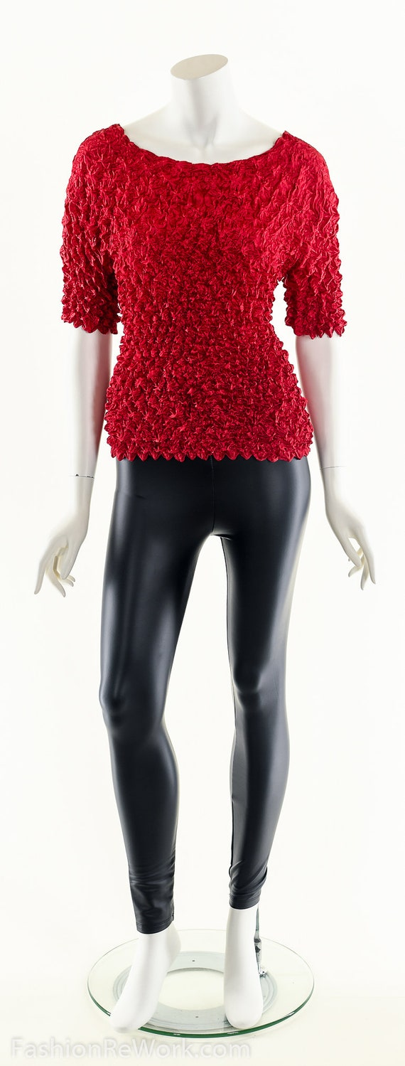 Red Popcorn Blouse,90s Vintage Blouse,Micropleat … - image 9