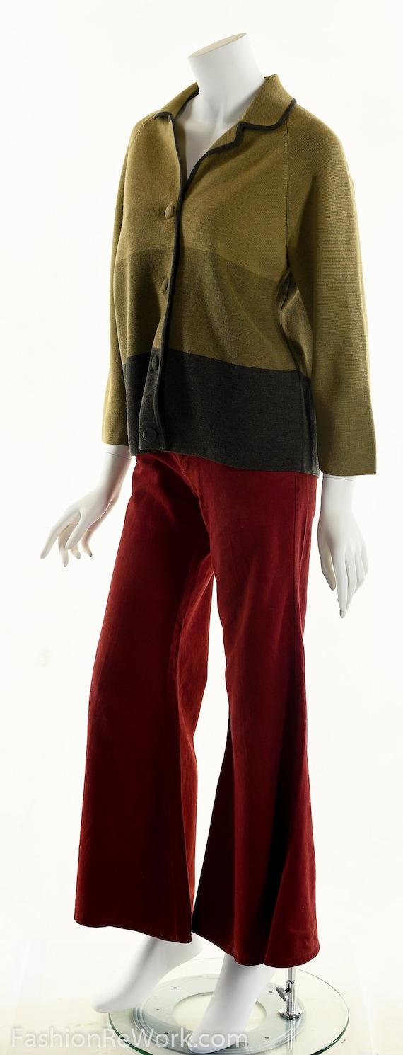 50's Italian Wool Sweater, Striped Wool Cardigan,… - image 8