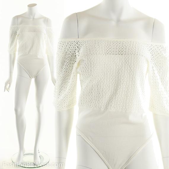 White Fishnet Bodysuit, Vintage White Bodysuit, Vi