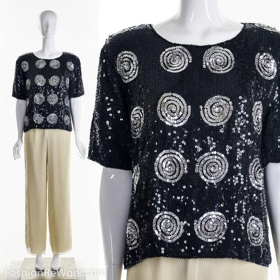 Abstract Swirl Silk Blouse, 70's Silk Blouse, Trop