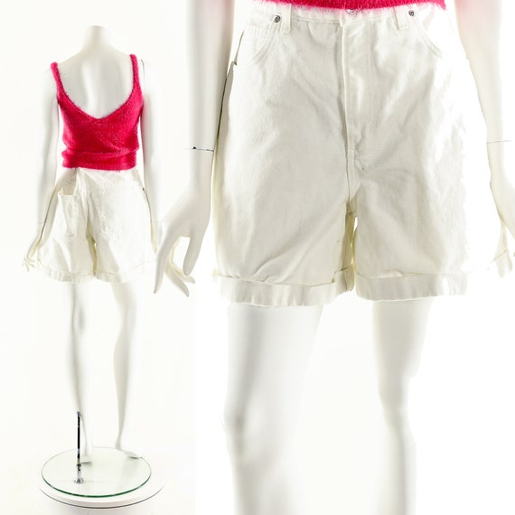 Vintage Denim Shorts,LA Blues Shorts,White Denim … - image 3