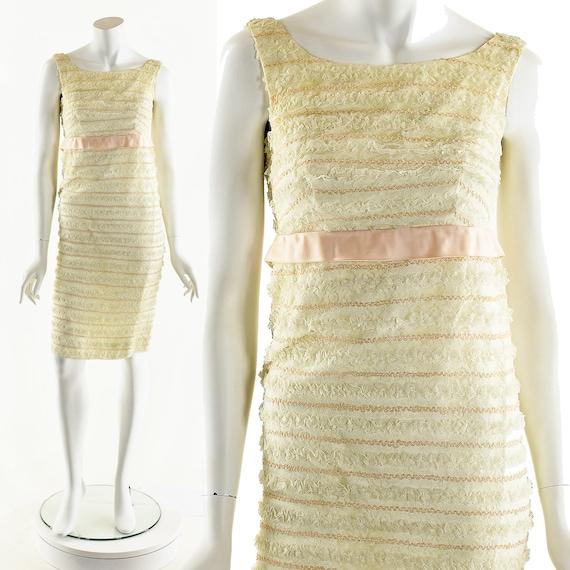Lace White Dress,Vintage White Dress,60s Sleeveles