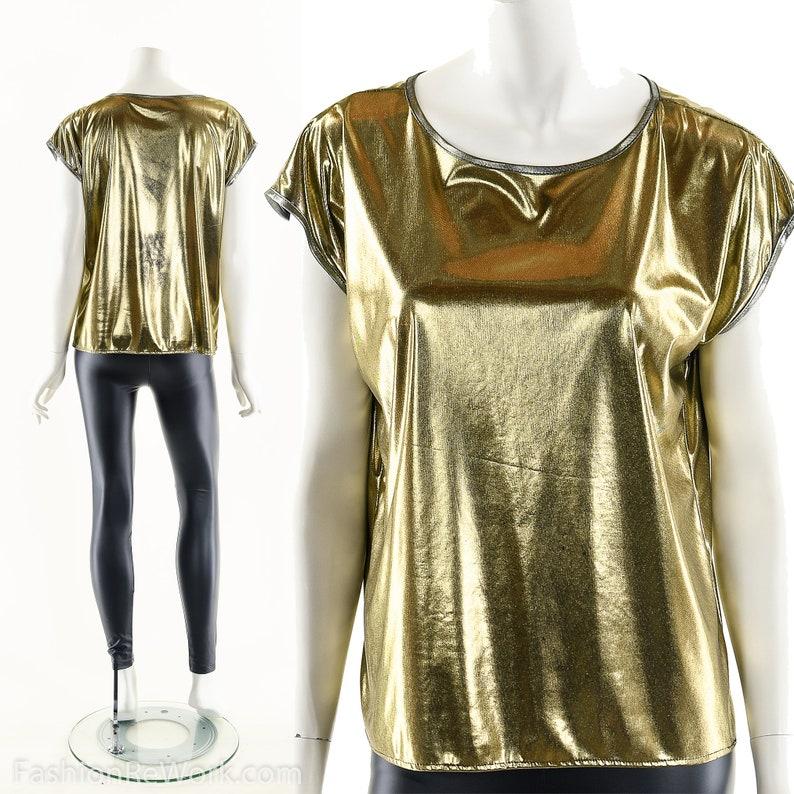 Golden Bronze Foil ShirtVintage 70s Gold Foil ShirtWet image 0