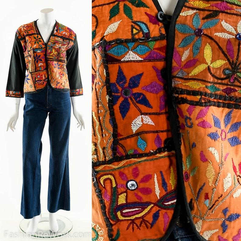 Rainbow Patchwork JacketBoho Embroidered JacketHand image 0