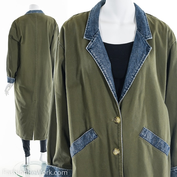 Green Denim Duster,Vintage 80s Army Green Denim Du