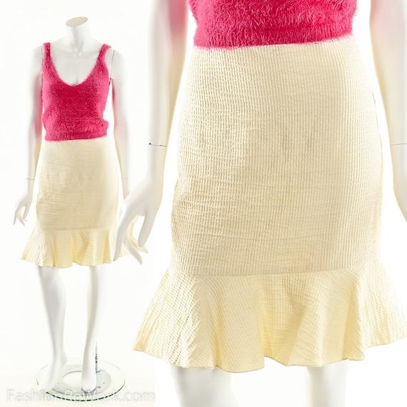 Gingham Peplum Skirt,Yellow Gingham Skirt,Pencil S