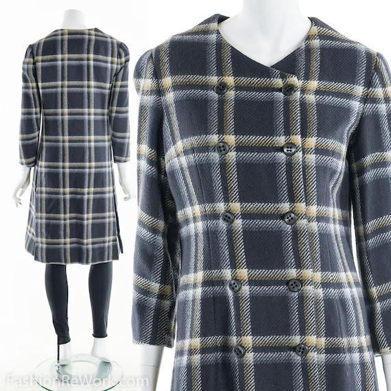 Plaid Wool Coat, Double Breasted Coat, 60's Coat,… - image 3