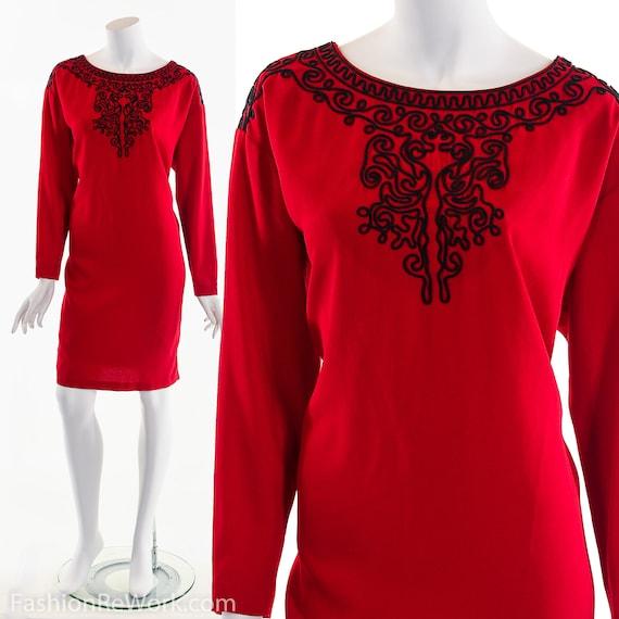 Vintage Red Dress, Bohemian Dress, Boho Dress, Eth