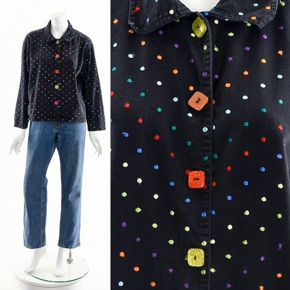 Black Rainbow Jacket,Embroidered Multicolored Jac… - image 1