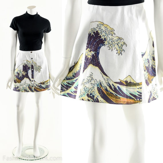 The Great Wave Skirt,90s Snap Front Skater Mini Sk