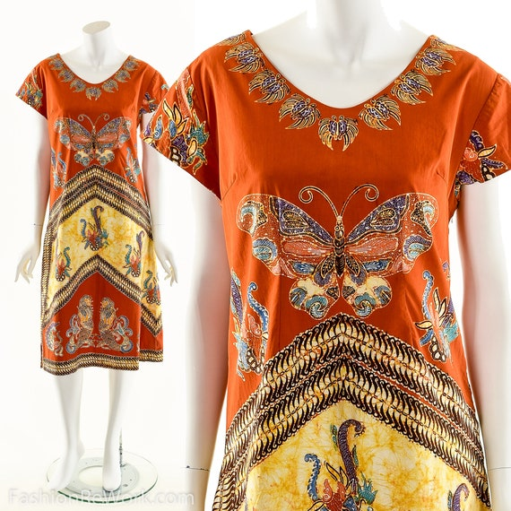 Butterfly Mermaid Dress,Vintage Batik Dress,Batik
