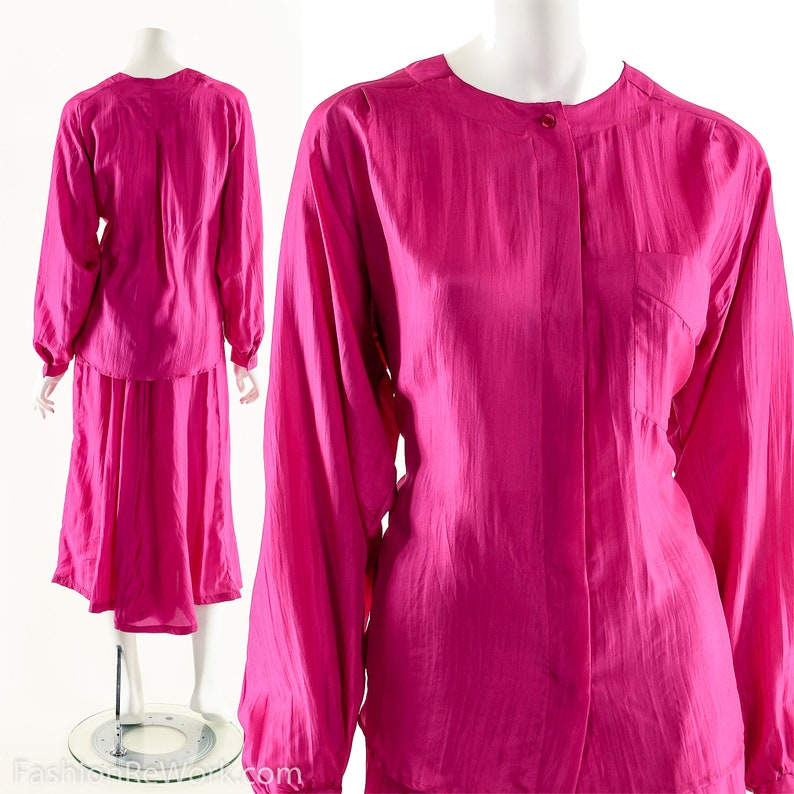 Silk Two Piece Dress SetMagenta Silk Dress80s Vintage image 0