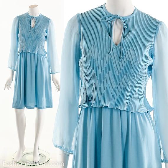 Blue Dress, Secretary Dress, Crinkle Dress, Blue C