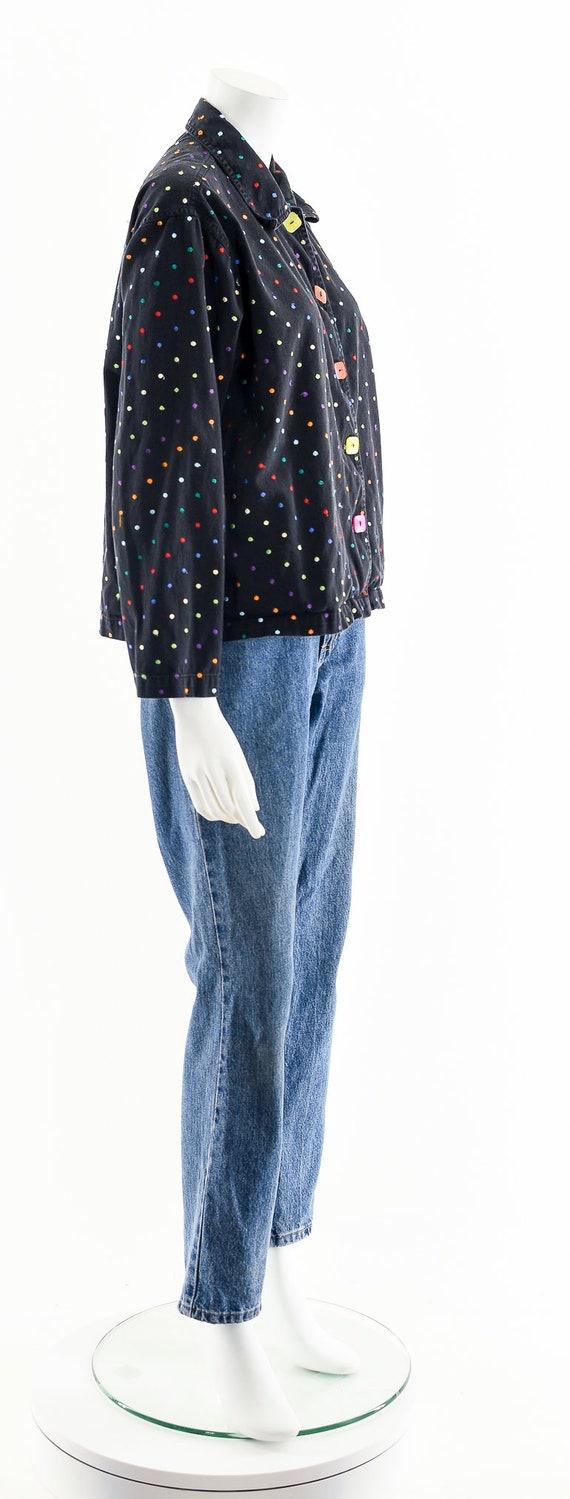 Black Rainbow Jacket,Embroidered Multicolored Jac… - image 5