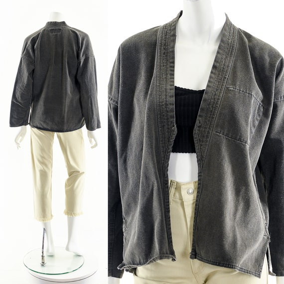 Charcoal Denim Kimono,Light Gray Kimono,Vintage J… - image 2