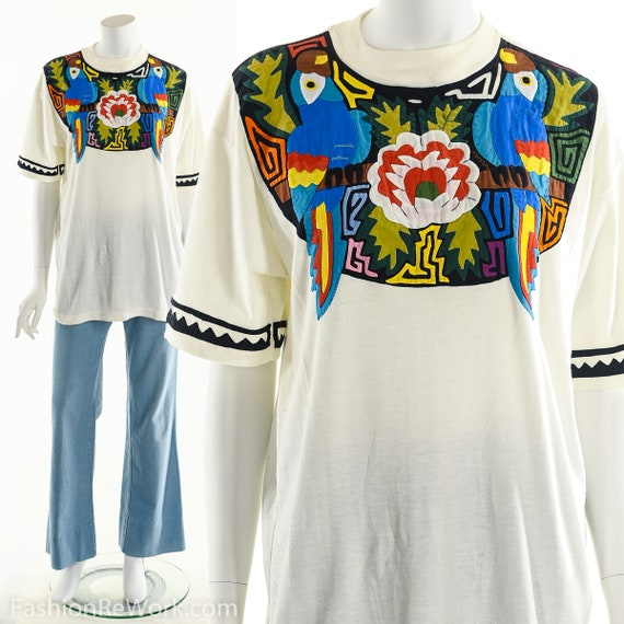 Patchwork T-Shirt, Vintage Patchwork Tee, Tropical