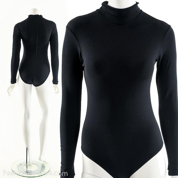 70s Black Bodysuit,Turtleneck Bodysuit,Long Sleeve