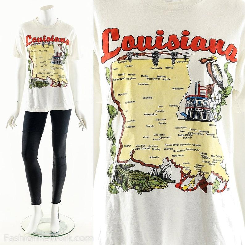 Louisiana T-Shirt Vintage Louisiana Souvenir Shirt Travel image 0
