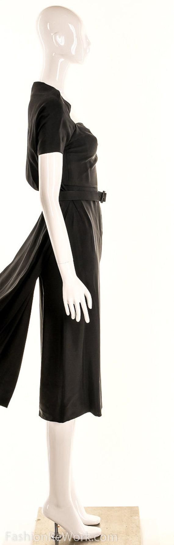 Vintage 40s Black Pencil Dress,40s Va Va Voom Dre… - image 4