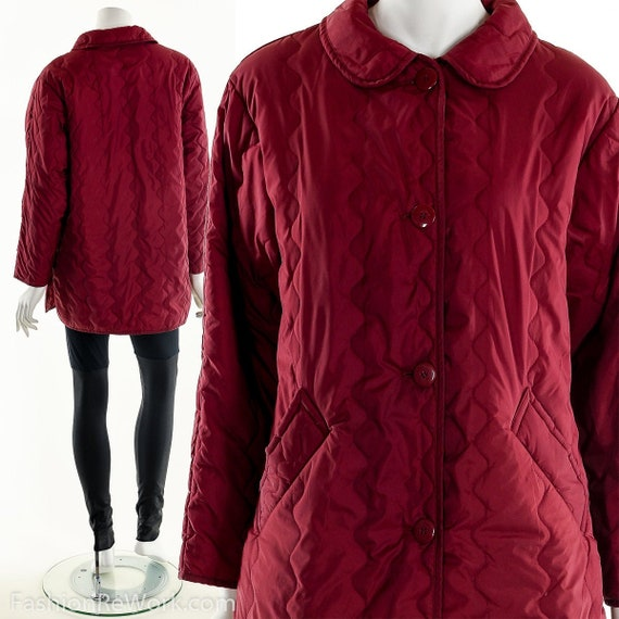 Vintage Quilted Jacket, Red Quilt Jacket, 90's Qui