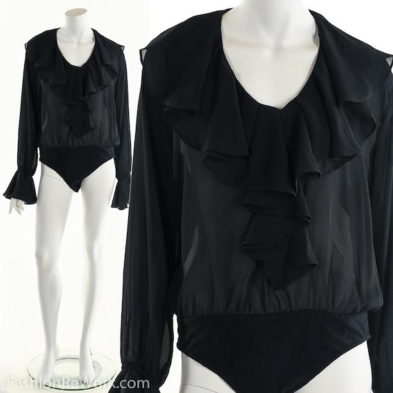 Black Ruffle Bodysuit, Vintage 90's bodysuit, Prin