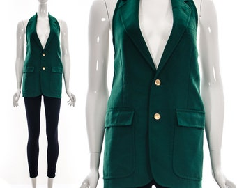 Emerald Green Halter Vintage Vest Blazer Deep Pockets Halter Medium Large