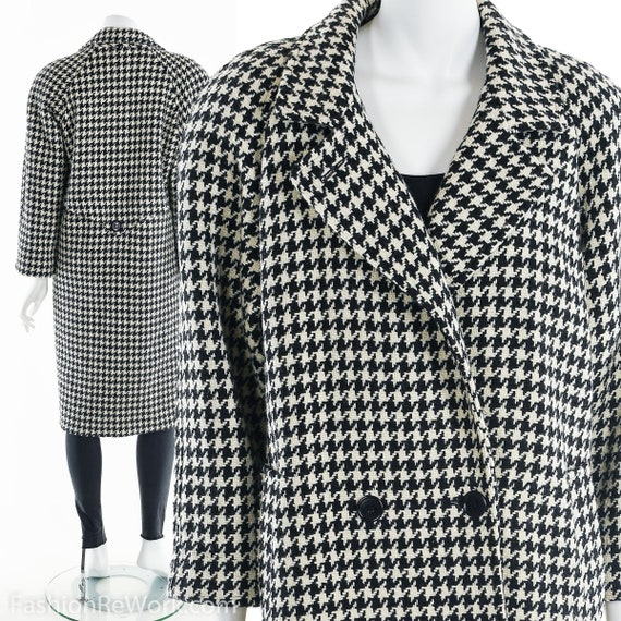 Houndstooth Wool Coat, Wool Trench Coat, Wool Peac