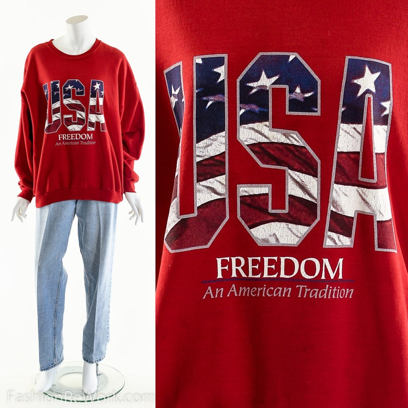 Vintage USA sweatshirtPatriotic Freedom shirtUSA Freedom image 0