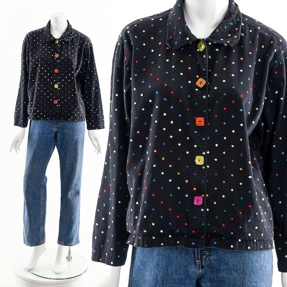 Black Rainbow Jacket,Embroidered Multicolored Jac… - image 2