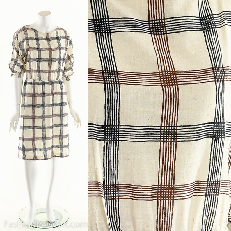 Plaid Muslin Flare DressFit and Flare DressNatural Striped image 0