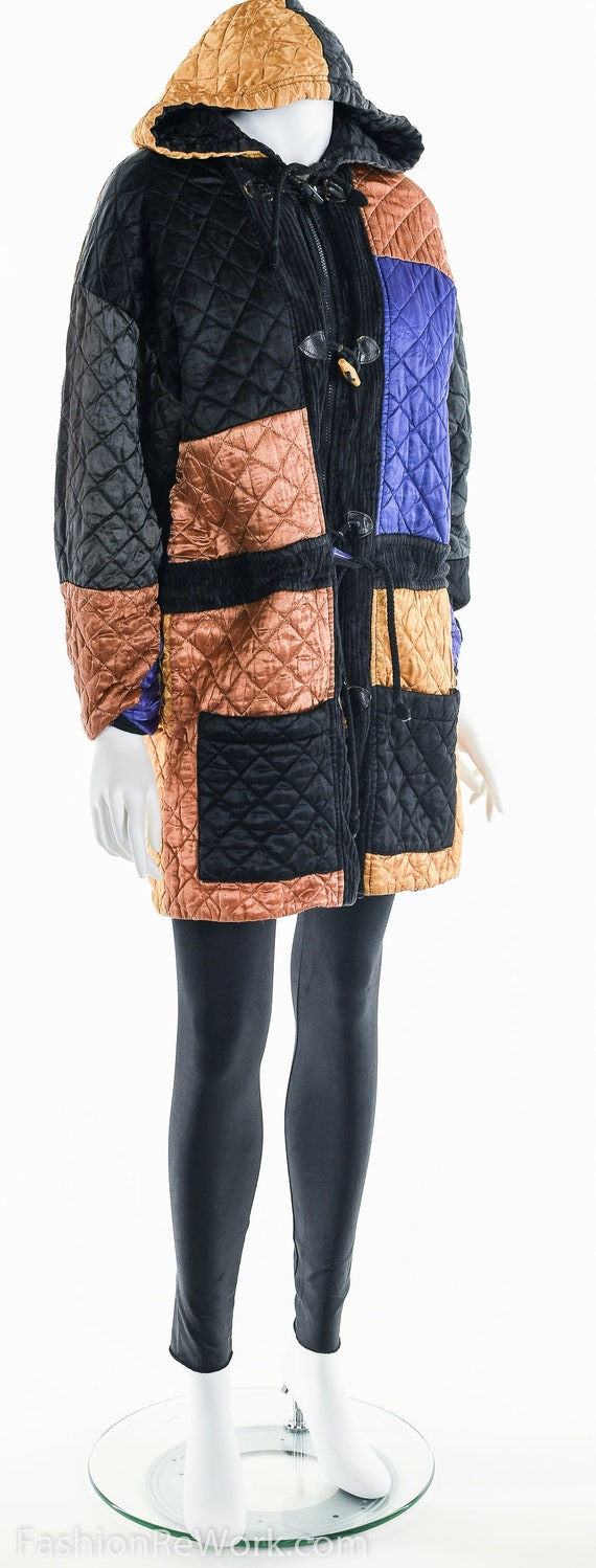 Quilted Jacket, Quilted Hoodie Jacket, Colorblock… - image 4