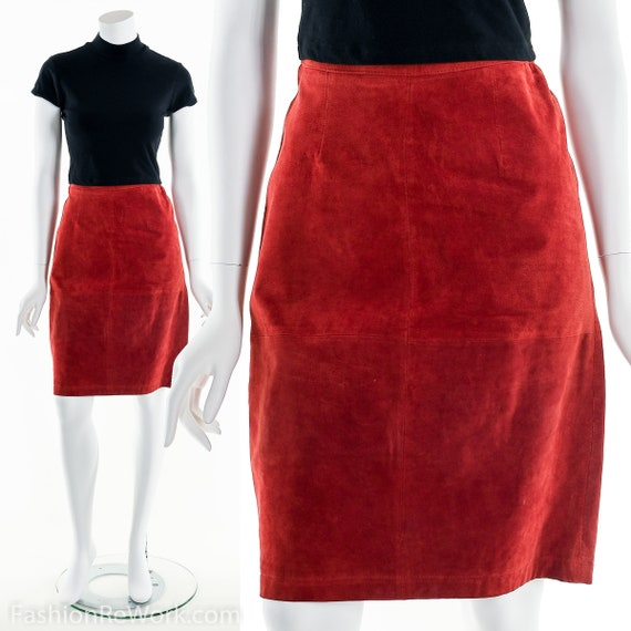 Red Skirt, Red Pencil Skirt, Patchwork Leather Pen