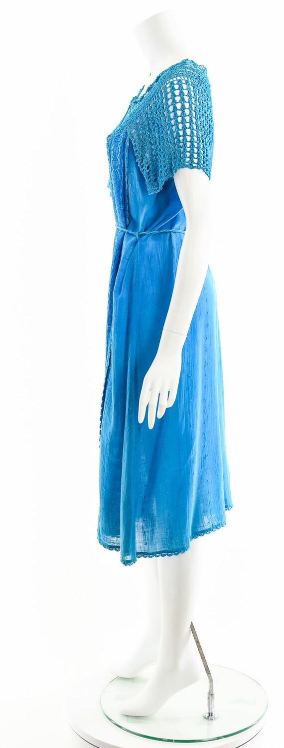 Blue India Gauze Dress,Turquoise India Cotton Dre… - image 9