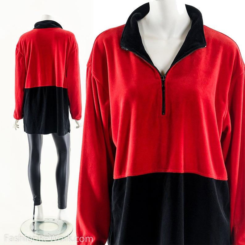 Colorblock Velour PulloverRed Black Track JacketRed Athletic image 0
