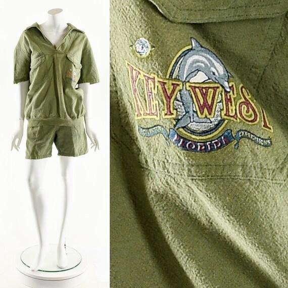 Minimalist Green Jumpsuit,Gauze Two Piece Set,Vint