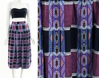 Purple Checkered Mini Skirt,Vintage Pleated Woven Skirt,Bohemian Skirt,Boho Midi Skirt,Ethnic Wanderlust Skirt,HIppie Skirt,High Waist Skirt