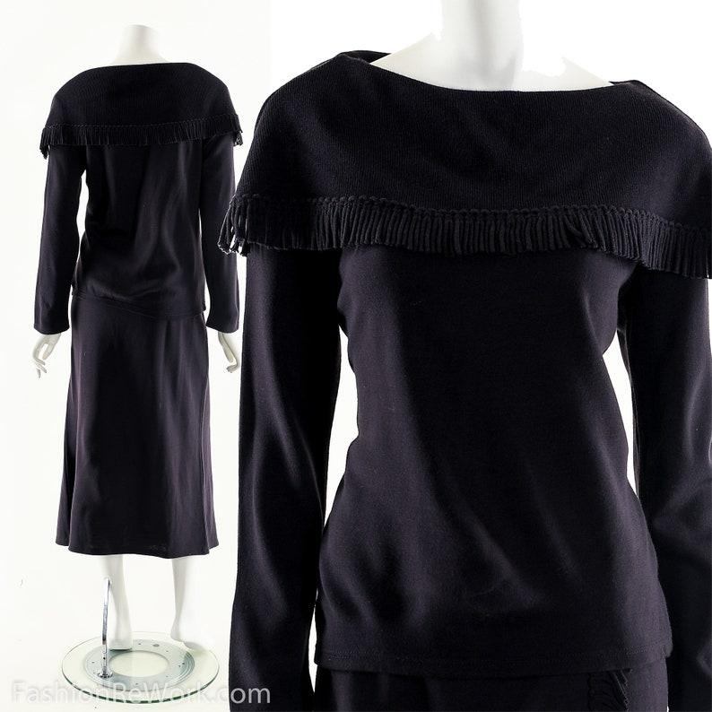 Vintage Two Piece Set Two Piece Dress Hand Knit Dress image 0